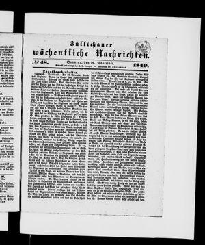 Züllichauer wöchentliche Nachrichten on Nov 29, 1840