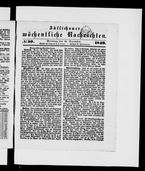 Züllichauer wöchentliche Nachrichten vom 13.12.1840