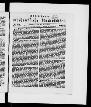 Züllichauer wöchentliche Nachrichten vom 20.12.1840