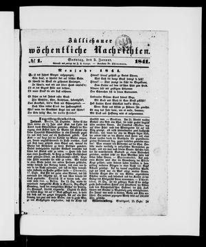 Züllichauer wöchentliche Nachrichten vom 03.01.1841