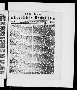 Züllichauer wöchentliche Nachrichten vom 14.02.1841