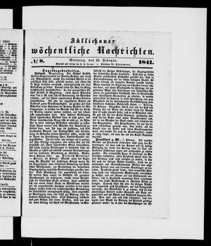 Züllichauer wöchentliche Nachrichten vom 21.02.1841