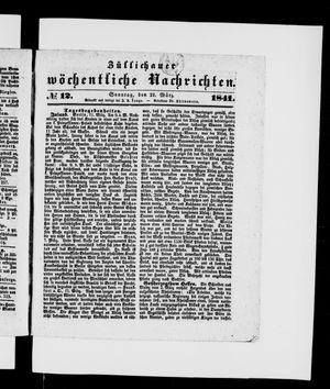 Züllichauer wöchentliche Nachrichten vom 21.03.1841