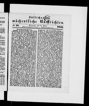 Züllichauer wöchentliche Nachrichten vom 11.04.1841