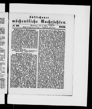 Züllichauer wöchentliche Nachrichten vom 09.05.1841