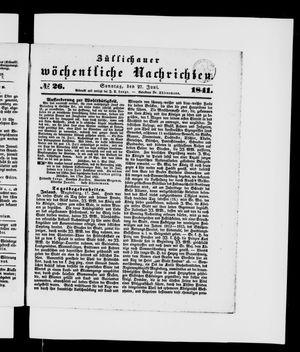 Züllichauer wöchentliche Nachrichten vom 27.06.1841