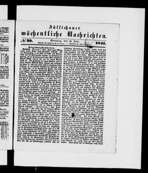 Züllichauer wöchentliche Nachrichten vom 18.07.1841