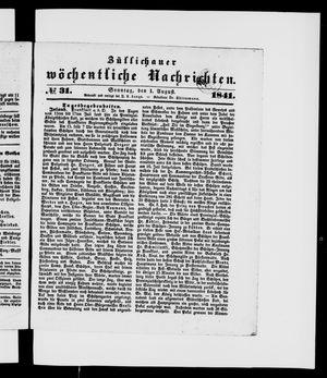 Züllichauer wöchentliche Nachrichten vom 01.08.1841