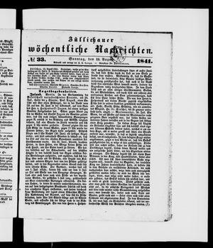 Züllichauer wöchentliche Nachrichten vom 15.08.1841