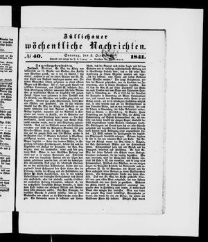 Züllichauer wöchentliche Nachrichten vom 03.10.1841