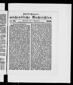 Züllichauer wöchentliche Nachrichten vom 07.11.1841