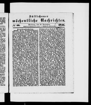 Züllichauer wöchentliche Nachrichten vom 14.11.1841