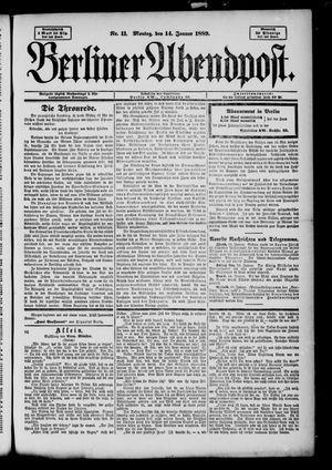Berliner Abendpost on Jan 14, 1889