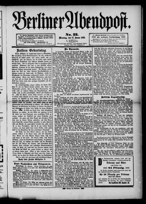 Berliner Abendpost vom 27.01.1890