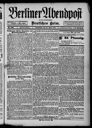 Berliner Abendpost on Apr 23, 1892