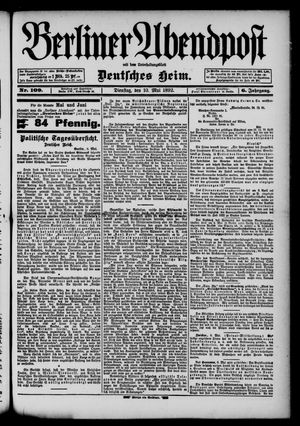 Berliner Abendpost on May 10, 1892
