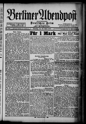 Berliner Abendpost on Apr 30, 1899