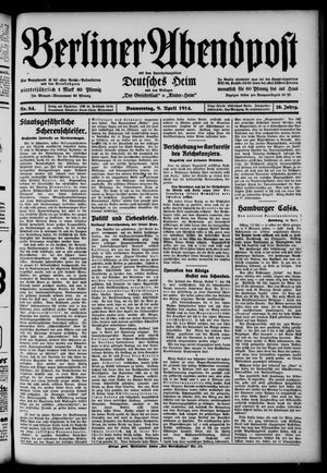 Berliner Abendpost on Apr 9, 1914