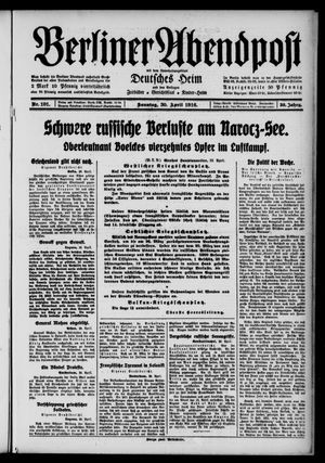 Berliner Abendpost on Apr 30, 1916