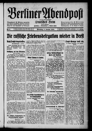 Berliner Abendpost on Jan 8, 1918