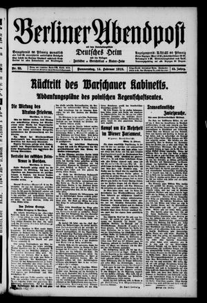 Berliner Abendpost on Feb 14, 1918