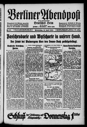 Berliner Abendpost on Apr 18, 1918