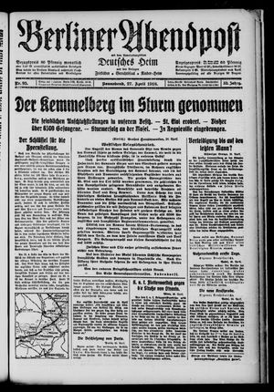 Berliner Abendpost on Apr 27, 1918
