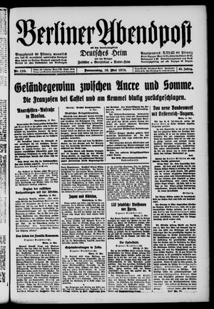 Berliner Abendpost on May 16, 1918