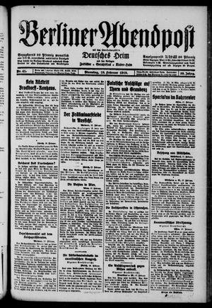 Berliner Abendpost on Feb 18, 1919