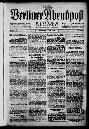 Berliner Abendpost on May 1, 1919