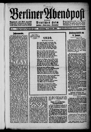 Berliner Abendpost on Jan 1, 1920