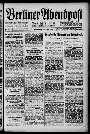 Berliner Abendpost on Apr 15, 1920