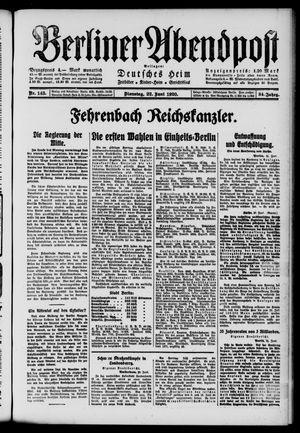 Berliner Abendpost on Jun 22, 1920