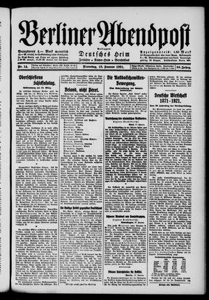 Berliner Abendpost vom 18.01.1921