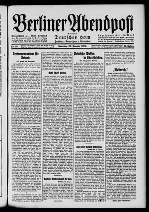 Berliner Abendpost vom 23.01.1921