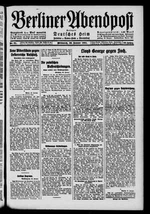 Berliner Abendpost vom 26.01.1921