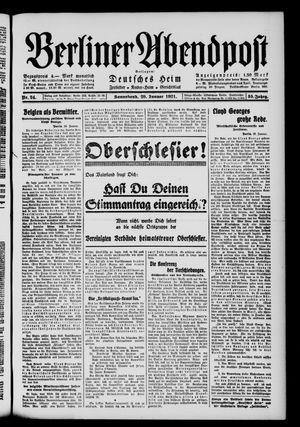 Berliner Abendpost vom 29.01.1921