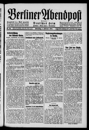 Berliner Abendpost vom 01.02.1921