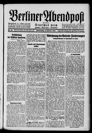 Berliner Abendpost vom 03.02.1921