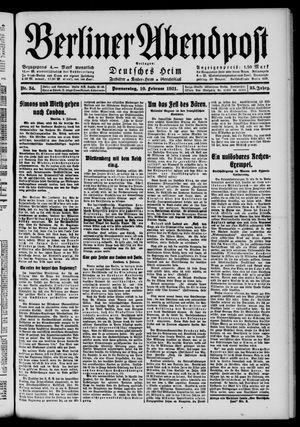 Berliner Abendpost vom 10.02.1921