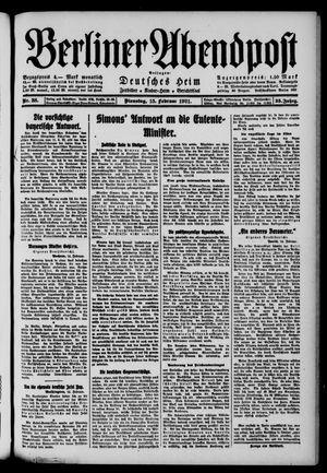 Berliner Abendpost vom 15.02.1921