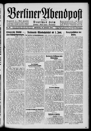Berliner Abendpost vom 16.02.1921