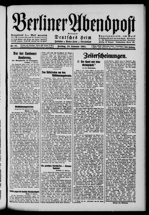 Berliner Abendpost vom 18.02.1921