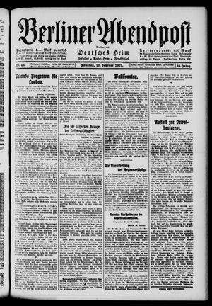 Berliner Abendpost vom 20.02.1921