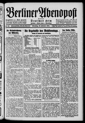 Berliner Abendpost vom 22.02.1921