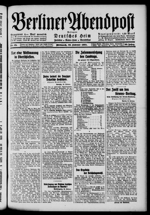 Berliner Abendpost vom 23.02.1921