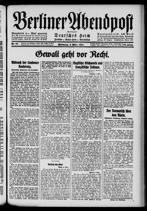 Berliner Abendpost vom 09.03.1921