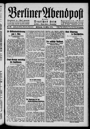 Berliner Abendpost vom 16.03.1921