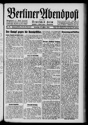 Berliner Abendpost vom 27.03.1921