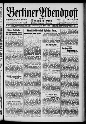 Berliner Abendpost vom 31.03.1921
